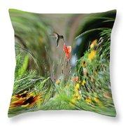 Humming Bird Digital Art Throw Pillow