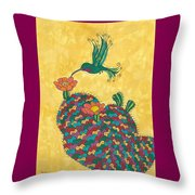 Hummingbird And Prickly Pear Throw Pillow