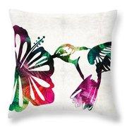Hummingbird Art - Tropical Chorus - By Sharon Cummings Throw Pillow