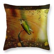 Hummingbird At The Pond Throw Pillow
