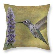 Hummingbird In The Mint Throw Pillow