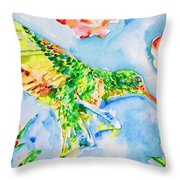 Hummingbird In The Roses Throw Pillow