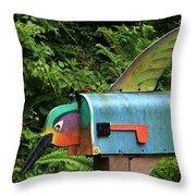 Hummingbird Mailbox Throw Pillow