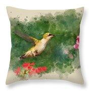 Hummingbird - Watercolor Art Throw Pillow