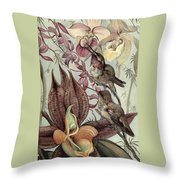 Hummingbirds And Orchids Throw Pillow