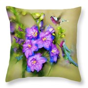 Hummingbirds Butterflies And Flowers Throw Pillow
