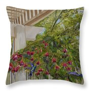 Hummingbirds In Spring Throw Pillow