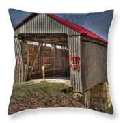 Artistic Humpback Covered Bridge Throw Pillow
