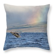 Humpback Whale And Rainbow Throw Pillow