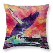 Humpback Whale Digital Color Throw Pillow