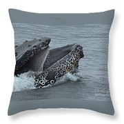 Humpback Whale  Lunge Feeding 2013 In Monterey Bay Throw Pillow