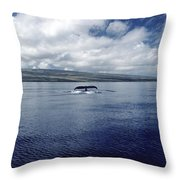 Humpback Whale Tail Slap Hawaii Throw Pillow