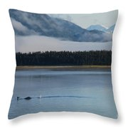 Humpback Whales And Alaskan Scenery Throw Pillow by Camilla Brattemark