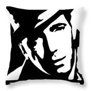 Humphrey Bogart Black And White Pop Art Throw Pillow
