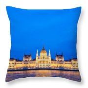 Hungarian Parliament Building At Dusk Throw Pillow