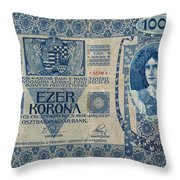 Hungary Banknote, 1902 Throw Pillow