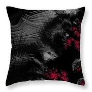 Hunger - Dark And Blood Red Fractal Art Throw Pillow