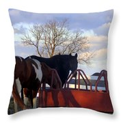 Hungry Horses Throw Pillow