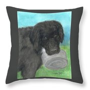 Hungry Newfoundland Dog Canine Animal Pets Art Throw Pillow