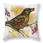 Hungry Thrush Throw Pillow
