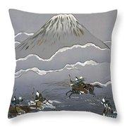 Hunt At Mount Fuji Throw Pillow