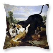 Hunted Bull Throw Pillow