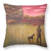 Hunter And Pointer Throw Pillow