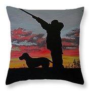 Hunting At Sunset Throw Pillow