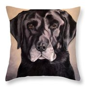 Hunting Buddy Black Lab Throw Pillow