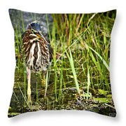 Hunting Heron Throw Pillow