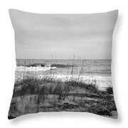 Hunting Island Beach In Black And White Throw Pillow
