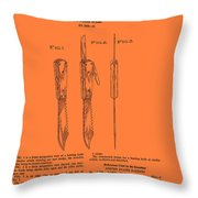 Hunting Knife Patent Throw Pillow