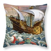 Hunting Sea Creatures Throw Pillow by Jan Collaert