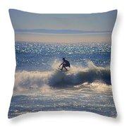 Huntington Beach California Surfer Throw Pillow