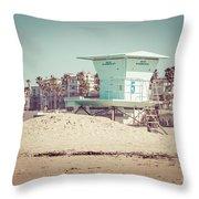 Huntington Beach Lifeguard Tower #5 Retro Picture Throw Pillow