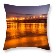 Huntington Beach Pier At Night Throw Pillow