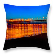 Huntington Beach Pier - Nightside Throw Pillow