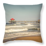 Huntington Beach Pier Retro Toned Photo Throw Pillow by Paul Velgos