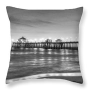 Huntington Beach Pier Twilight - Black And White Throw Pillow