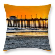 Huntington Beach Sunset Throw Pillow by Jim Carrell