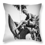 Huntington Beach Surfer Statue Black And White Picture Throw Pillow by Paul Velgos