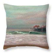 Huntington Beach Morning Throw Pillow