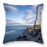 Huron Harbor Lighthouse Throw Pillow