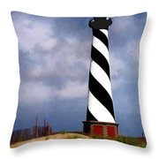 Hurricane Coming At Cape Hatteras Lighthouse Throw Pillow