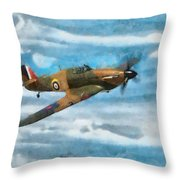 Hurricane Fighter Watercolour Throw Pillow
