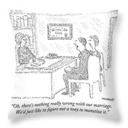 Husband And Wife Sitting At The Desk Throw Pillow