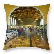 Hussel And Bussel At The Union Train Station Los Angeles Ca Throw Pillow