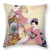 Hutari Mai Throw Pillow by Haruyo Morita