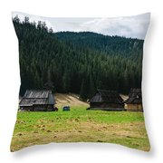 Huts In The Hills Throw Pillow
