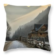 Hutsul Village Throw Pillow